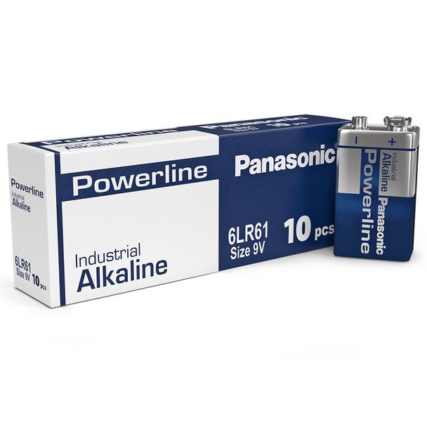 Panasonic Powerline 9V 6LR61AD Industrial Batteries | Box of 10