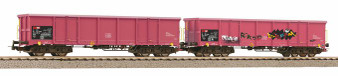 PIKO 58393 Set of 2 open freight cars Eaos SBB VI with graffiti (DC HO)