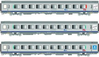 LS MODELS 41206 Set of 3 Corail VTU passenger cars of the SNCF, epoch VI (DC HO)