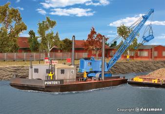 KIBRI 39156 Working pontoon with MENCK excavator M154 LC (HO)