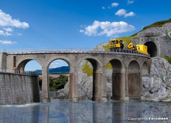 KIBRI 39725 Riedberg-viaduct with ice breaking pillars curved, single track(HO)