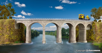 KIBRI 39726 Rosanna-viaduct with ice breaking pillars curved, single track(HO)
