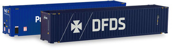 """HERPA 076937 Set 2x 45 ft. High Cube Container, """"P&O Ferrymaster / DFDS"""" (DC HO)"""