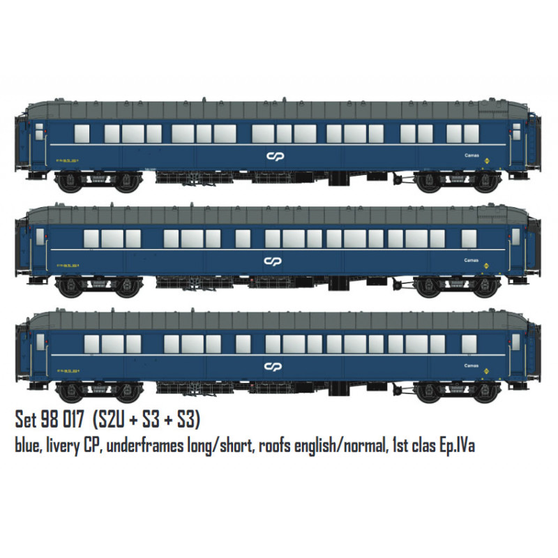 LS MODELS 98017 Sleeper coaches set S2U and S3. CP. (DC HO)