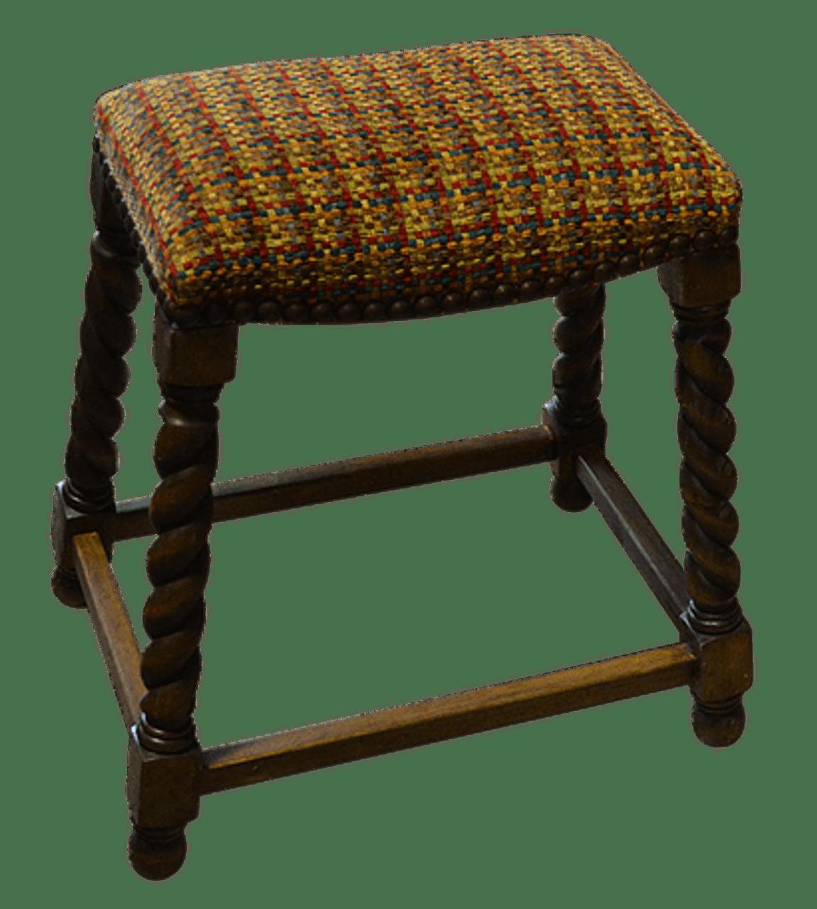 Twisted Leg Bar Stool Fabric Seat No Back