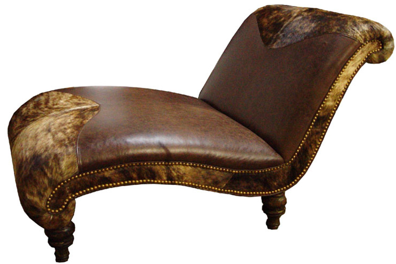 Saloon Brentwood Single Wide Chaise In Combination Chocolate Smooth Leather And Cowhide Priced With Level 1 Hide And Platinum Selection Leather