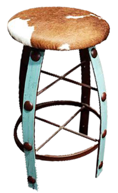 Cowhide covered bar stool
