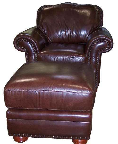 Country Western Genuine Full Grain Leather Chair and Regular Ottoman
