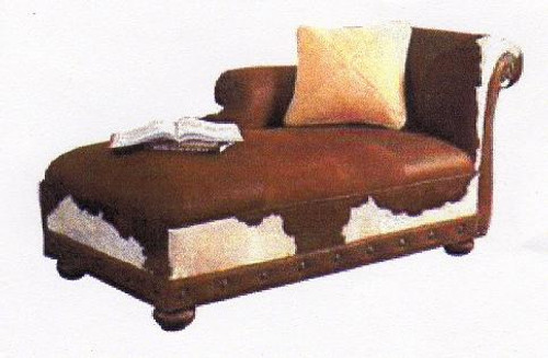 Country Western Hair on Hide Chaise Lounge