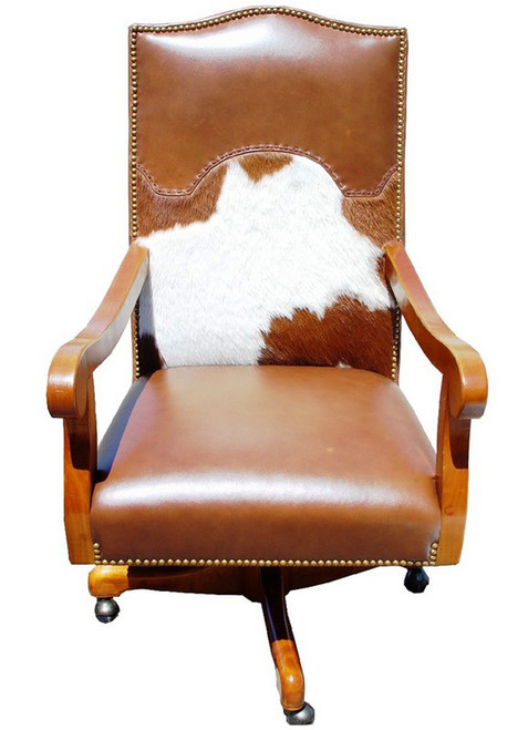 Cowhide and Leather Executive Swivel Desk Chair