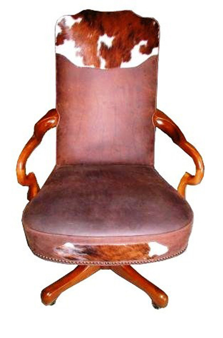 Cowhide and Leather Goose Neck Executive Swivel Desk Chair