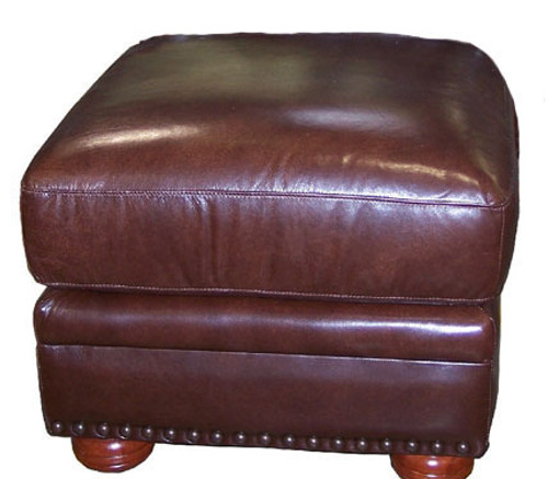Country Western Genuine Full Grain Leather Ottoman
