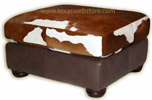 Cowhide Rustic Country Western Ottoman