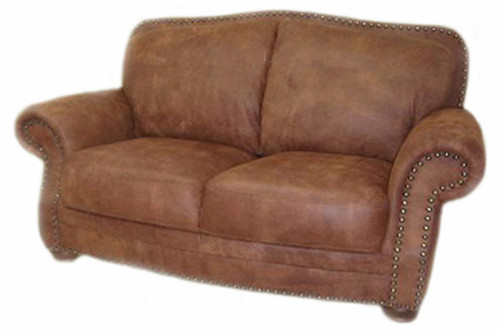 Country Western All Leather Loveseat