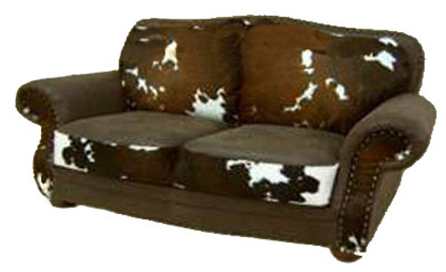 Rustic Cowhide Love Seat-Brown and White Hereford Hair on Hide