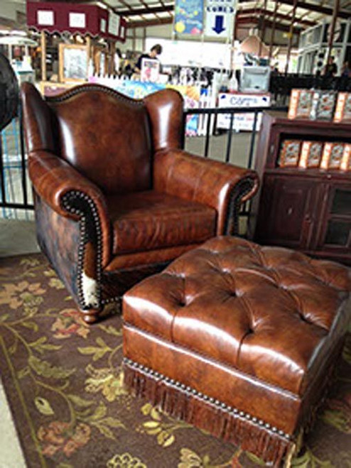 Country Western Wing Chair and Ottoman Set