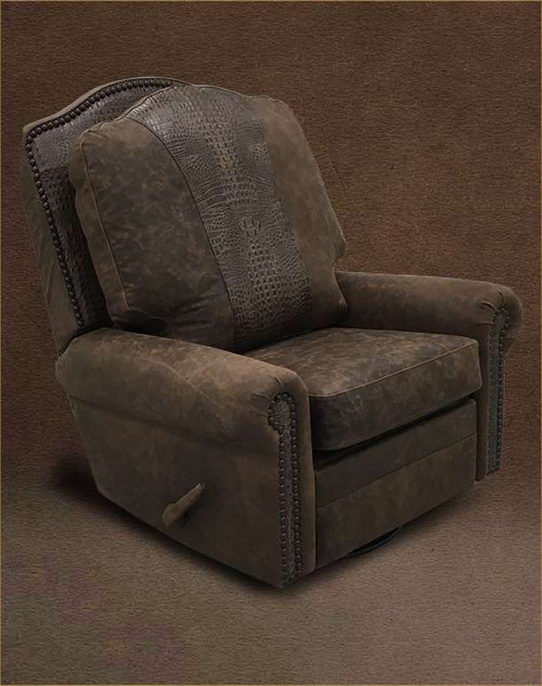 Country Western Gator Accent Recliner, Swivel and Glider