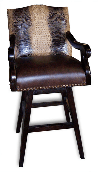 LAND BARON Alligator stamped leather Bar Stool- Gator back with smooth leather seat, arms and outside back