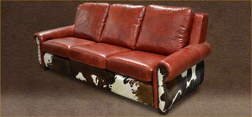 Cowhide Western Couch with hair on hide