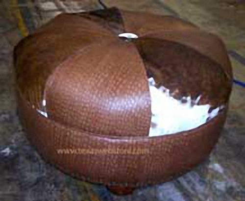 "Cowhide and Embossed Alligator Leather 30"" Round Ottoman"