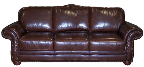 Country Western Genuine Full Grain Leather Sofa