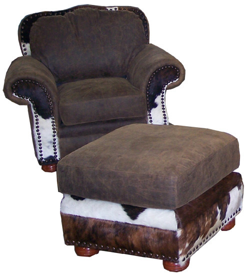 Country Western Cowhide & Full Grain Leather Chair and Regular Ottoman