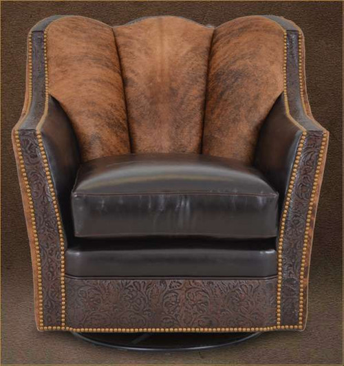 Country Western Cowhide, Smooth Leather and Embossed Leather Guest Chair