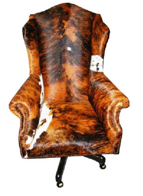 Cowhide Wingback Executive Swivel Desk Chair