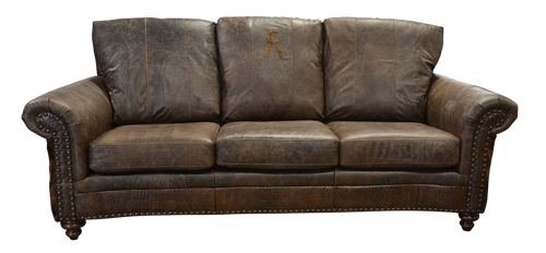 Country Western Style Genuine Leather Sofa With Embossed Leather