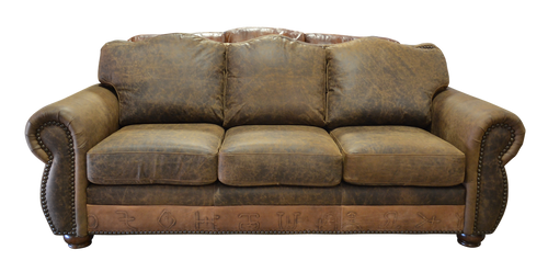Rustic Western Couch with Branded Leather