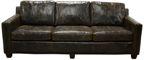 Transitional Genuine All Leather Sofa
