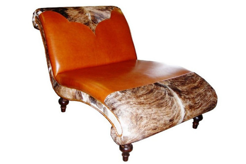 Western Style Double Wide Chaise Lounge with Cowhide and Genuine Leather