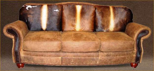 Cowhide Western Sofa, Country Western Couch Hair on Hide and Genuine Full Grain Leather
