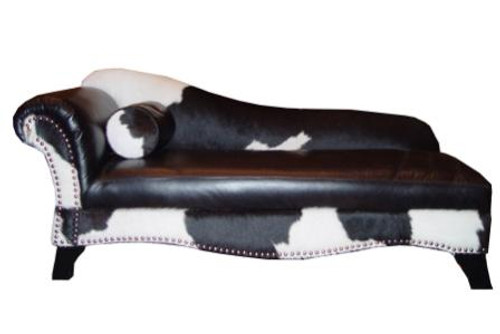 Black and White Cowhide and Leather Chaise Lounge
