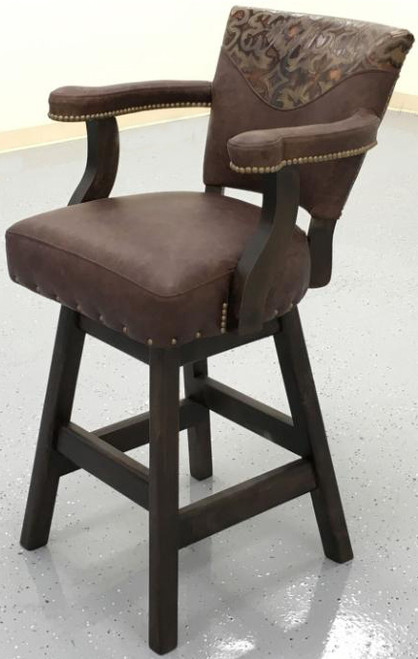 CORRAL RUSTIC Bar Stool - smooth leather with embossed yoke on inside back