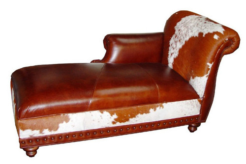 Rustic Cowhide and Leather Chaise Lounge