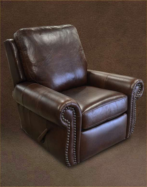 Country Western Genuine Full Grain Leather Recliner that also Swivels and Glides