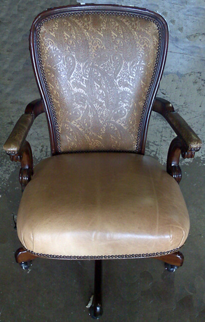 Embossed Leather Back with Smooth Leather Seat Executive Swivel Desk Chair - priced with Silver selection Leather