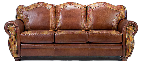 Genuine Leather Western Couch With Embossed Alligator Accents