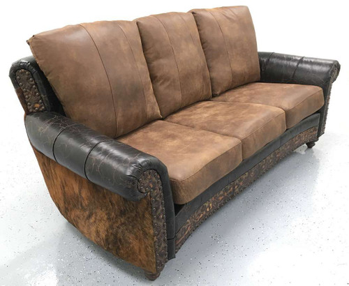 Cowhide with Smooth Distressed and Embossed Full Grain Leather Sofa, Couch