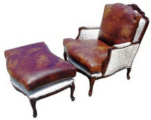 Bergere Cowhide and Full Grain Leather Chair and Ottoman Set
