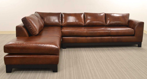Nicola All Leather Sectional With Chaise on Right