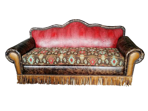 Country Western Outlaw Embossed Genuine Leather Accented Couch With Southwest Fabric