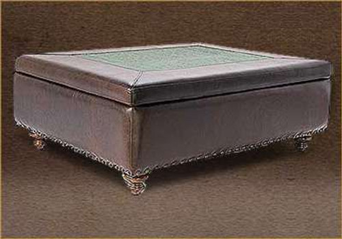 """Prestonwood Leather Storage Ottoman 40"""" X 40"""" with embossed leather accent"""