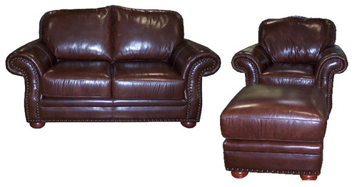 Country Western Genuine Full Grain Leather Love Seat, Chair and Regular Ottoman