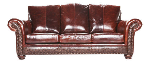 Western Style Sofa, Smooth Genuine Leather Combined with Genuine Hand Stamped Leather Accent