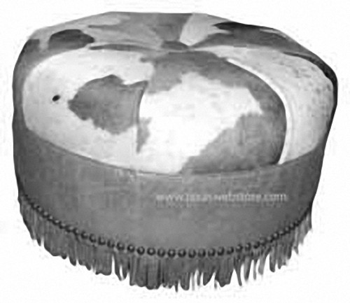 """Custom Cowhide Rustic Round 30"""" Ottoman with fringe"""