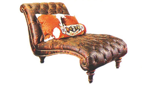 Western Style Tufted Genuine Leather Chaise Lounge
