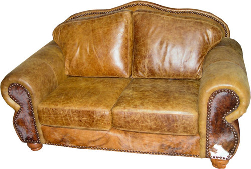 Hair on Hide Log Cabin and Mountain Lodge Cowhide Loveseats