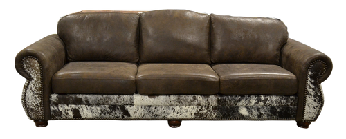Country Western Leather Sofa with Cowhide